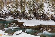 Winter along McDonald Creek in Glacier National Park, Montana, USA