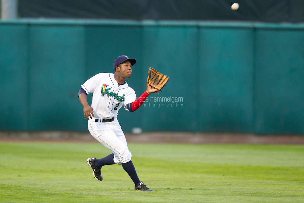 Cedar Rapids Kernels outfielder J.D. Williams #2 catches a fly ball during a game against the Kane County Cougars at Veterans Memorial Stadium on June 8, 2013 in Cedar Rapids, Iowa. (Brace Hemmelgarn)