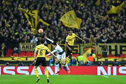 February 13, 2019 - London, England, United Kingdom - Tottenham forward Heung-Min Son is out jumped in the air by Borussia Dortmund defender Dan-Axel Zagadou during the UEFA Champions League match between Tottenham Hotspur and Ballspielverein Borussia 09 e.V. Dortmund at Wembley Stadium, London on Wednesday 13th February 2019. (Credit: Jon Bromley | MI News & Sport Ltd) (Credit Image: © Mi News/NurPhoto via ZUMA Press)