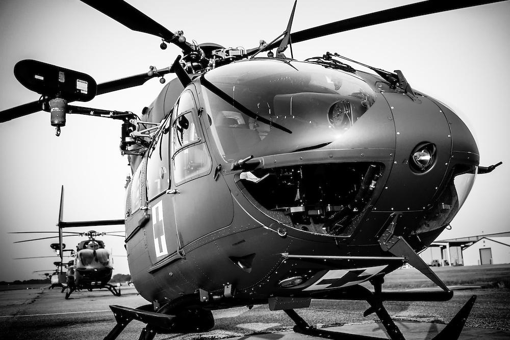 UH-72 Lakota MEDEVAC sits on the ready line as the sun rises.