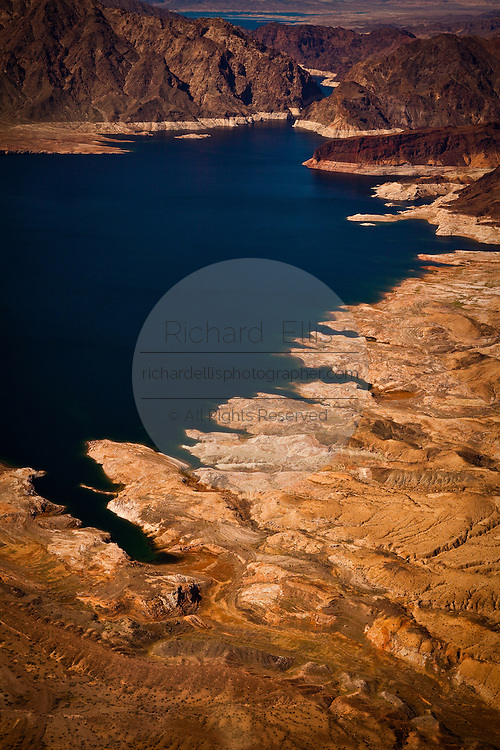 Aerial view of Bonelli Bay and a cinder cone on Lake Mead National Recreation Area, Arizona.