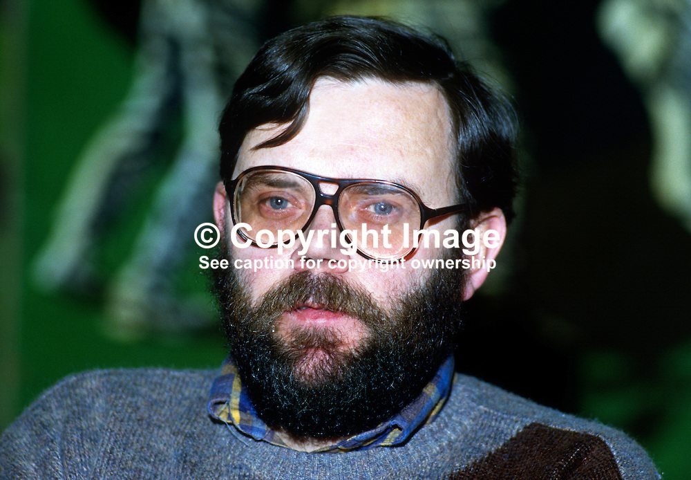 Tom Hartley, prominent member, Provisional Sinn Sein, Belfast, N Ireland, taken 1985 Ard Fheis, Dublin, Rep of Ireland. 19851102TH.<br /> <br /> Copyright Image from Victor Patterson, Belfast, UK<br /> <br /> t: +44 28 9066 1296 (from Rep of Ireland 048 9066 1296)<br /> m: +44 7802 353836<br /> e: victorpattersonbelfast@gmail.com<br /> <br /> www.images4media.com<br /> <br /> Please see my full Terms and Conditions of Use at https://www.images4media.com/p/terms-conditions - it is IMPORTANT that you familiarise yourself with them.<br /> <br /> Images used online incur an additional cost. This cost should be agreed in writing in advance. Online images must be visibly watermarked i.e. © Victor Patterson or that of the named photographer within the body of the image. The original metadata must not be deleted from images used online.<br /> <br /> This image is only available for the use of the download recipient i.e. television station, newspaper, magazine, book publisher, etc, and must not be passed on to a third party. It is also downloaded on condition that each and every usage is notified within 7 days to victorpattersonbelfast@gmail.com.<br /> <br /> The right of Victor Patterson (or the named photographer) to be identified as the author is asserted in accordance with The Copyright Designs And Patents Act (1988). All moral rights are asserted.