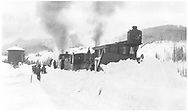 """An RGS class 60 locomotive at Trout Lake pushing plow/flanger #02 trailed by a caboose.<br /> RGS  Trout Lake, CO  1913<br /> In book """"RGS Story, The Vol. IV: Over the Bridges? Ophir Loop to Rico"""" page 193"""