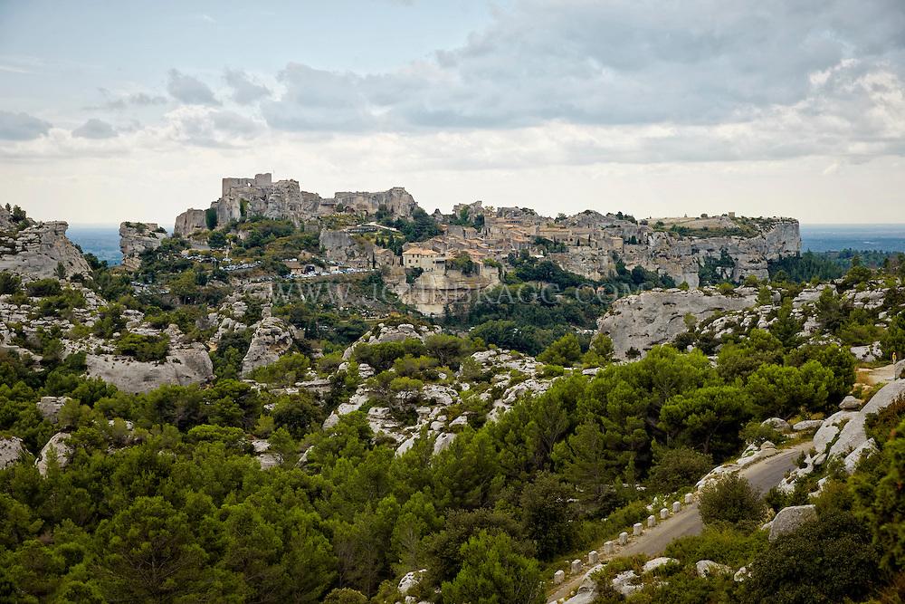 View of the  picturesque hilltop villages hilltop of Les Baux, France.