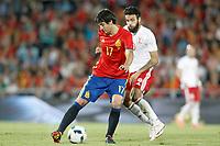 Spain's Mikel San Jose (l) and Georgia's Tornike Okriashvili during international friendly match. June 7,2016.(ALTERPHOTOS/Acero)