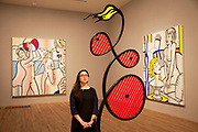 London, UK. Monday 18th February 2013. Lichtenstein: A Retrospective at  Tate Modern brings together 125 of artist Roy Lichtenstein's most definitive paintings and sculptures. Galatea (1990) and behind Nudes with Beach Ball (1994) and Nude with Bust (1995)