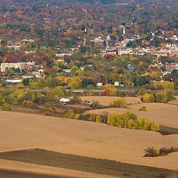 Farm fields on the outskirts of Northampton, Massachusetts.  Fall.  As seen from the Skinner Mountain House in Skinner State Park in Hadley.  Holyoke Range.