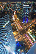 Aerial view of Tel Aviv, Israel Looking South. Azrieli tower in the foreground