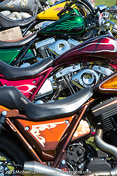 Bike line-up at the Sturgis FXR Bike Show at City Park. Sturgis, SD, USA.  August 2, 2015.  Photography ©2015 Michael Lichter.