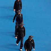 Line judges on court during the Men's Doubles Final between  Bob and Mike Bryan of the USA and Daniel Nestor of Canada and Nenad Zimonjic of Serbia in the Men's Doubles Finals match at the Medibank International Sydney Tennis Tournament in Australia on January 17, 2009. Photo Tim Clayton