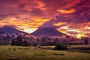 Arenal Volcano, La Fortuna, Costa Rica, Sunset, Ground Fog