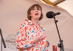 © Licensed to London News Pictures. 21/07/2019; Tolpuddle, Dorset, UK. FRANCES O'GRADY, General Secretary of the TUC, speaks from the main stage at the Tolpuddle Martyrs Festival. The Tolpuddle Martyrs Festival for trade unionism, held every year, commemorates the birth of the trade union movement in the 19th century when the Tolpuddle Martyrs were transported to Australia for forming a trade union of agricultural labourers in Dorset. Photo credit: Simon Chapman/LNP.