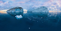 Aerial view of big icebergs in Greenland.
