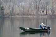Minnesota USA, Winona Fishing in the Mississippi river  November 2006