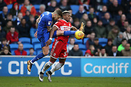 Joe Bennett of Cardiff city (l) challenges Adama Traore of Middlesbrough.EFL Skybet championship match, Cardiff city v Middlesbrough at the Cardiff city Stadium in Cardiff, South Wales on Saturday 17th February 2018.<br /> pic by Andrew Orchard, Andrew Orchard sports photography.