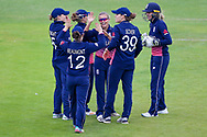 England womens cricket player Alex Hartley  celebrates the wicket of Pakistan womens cricket player Asmavia Iqbal Khokhar  during the ICC Women's World Cup match between England and Pakistan at the Fischer County Ground, Grace Road, Leicester, United Kingdom on 27 June 2017. Photo by Simon Davies.