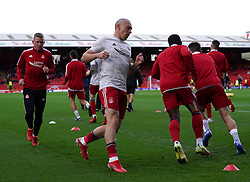 Aberdeen's Scott Brown warming up prior to kick-off during the cinch Premiership match at Pittodrie Stadium, Aberdeen. Picture date: Sunday October 3, 2021.