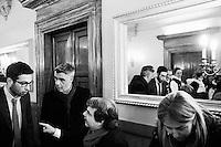 """ROME, ITALY - 24 JANUARY 2013:Renato Brunetta  (center), former Minister in Silvio Berlusconi IV Cabinet, distributes the """"Candidate's Kit"""" to the candidates of Silvio Berlusconi's People of Freedom party, after the convention in which the former PM presented his candidates  for the upcoming general elections, in Rome on January 25, 2013.<br /> <br /> A general election to determine the 630 members of the Chamber of Deputies and the 315 elective members of the Senate, the two houses of the Italian parliament, will take place on 24–25 February 2013. The main candidates running for Prime Minister are Pierluigi Bersani (leader of the centre-left coalition """"Italy. Common Good""""), former PM Mario Monti (leader of the centrist coalition """"With Monti for Italy"""") and former PM Silvio Berlusconi (leader of the centre-right coalition).<br /> <br /> ###<br /> <br /> ROMA, ITALIA - 24 GENNAIO 2013: Renato Brunetta (centro), ex Ministro per la Pubblica Amministrazione e l'Innovazione nel Governo Berlusconi IV, disitrbuisce i """"Kit del Candidato"""" ai candidati del PdL dopo la convention in cui l'ex premier Silvio Berlusconi ha presentato  i candidati PdL alle prossime elezioni politiche, a Roma il 24 gennaio 2013.<br /> <br /> Le elezioni politiche italiane del 2013 per il rinnovo dei due rami del Parlamento italiano – la Camera dei deputati e il Senato della Repubblica – si terranno domenica 24 e lunedì 25 febbraio 2013 a seguito dello scioglimento anticipato delle Camere avvenuto il 22 dicembre 2012, quattro mesi prima della conclusione naturale della XVI Legislatura. I principali candidate per la Presidenza del Consiglio sono Pierluigi Bersani (leader della coalizione di centro-sinistra """"Italia. Bene Comune""""), il premier uscente Mario Monti (leader della coalizione di centro """"Con Monti per l'Italia"""") e l'ex-premier Silvio Berlusconi (leader della coalizione di centro-destra).ROME, ITALY - 24 JANUARY 2013: Silvio Berlusconi, former PM and leader of The People of Freedom party, and """