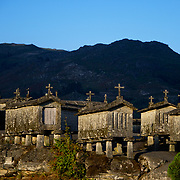 Espigueiros, the stone build granaries made to store cereal that are very traditional of Norther Portugal.