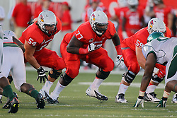 06 Sep 2014: Mark Spelman and Kyle Avaloy prepare for the play at the line during a non-conference NCAA football game between the Delta Devils of Mississippi Valley State and the Redbirds of Illinois State at Hancock Stadium in Normal Il