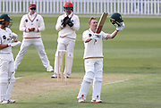 Bayley Wiggins of CD celebrates his 100 runs. Canterbury vs. Central Districts Day 1, 1st round of the 2021-2022 Plunket Shield cricket competition at Hagley Oval, Christchurch, on Saturday 23rd October 2021.<br /> © Copyright Photo: Martin Hunter/ www.photosport.nz