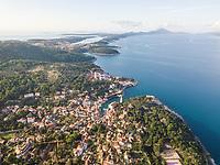 Aerial view above of Veli Lošinj coastal cityscape, Croatia.