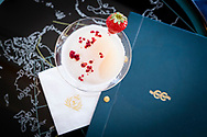 Cocktails in the Commodore Club bar on board Cunard's luxury ocean liner, Queen Mary 2, en route to New York.<br /> Date: Friday September, 1; 2017.<br /> Photograph by Christopher Ison © for Cunard.<br /> 07544044177<br /> chris@christopherison.com<br /> www.christopherison.com