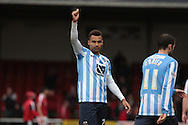 Coventry City striker Jacob Murphy thanks the travelling fans after the Sky Bet League 1 match between Swindon Town and Coventry City at the County Ground, Swindon, England on 24 October 2015. Photo by Jemma Phillips.