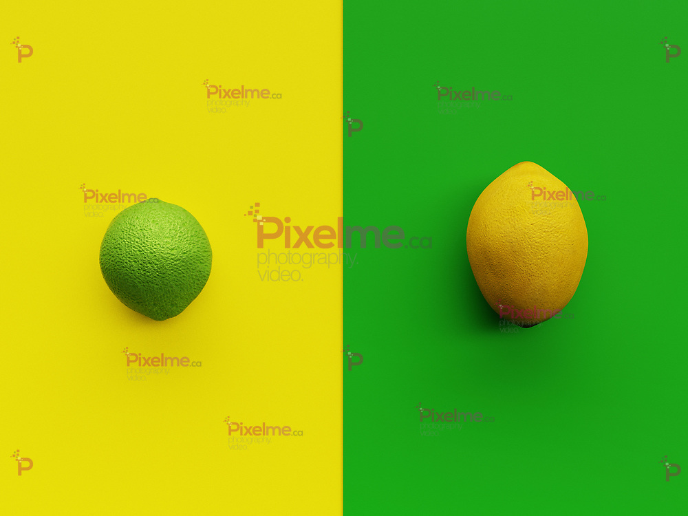Yellow Lemon and green lime viewed from above with vibrant yellow and green backgrounds in minimalism flatlay with copyspace - 3d rendering concept