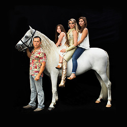 """Portrait of Kanat and Tatiana Tchalabaeva with their kids Veronica and Angelica. The parents lead The Thundering Cossack Warriors in the show.<br /> <br /> After 146 years, the """"Greatest Show on Earth"""" will close its curtain in the end of May. <br /> Ringling Bros. and Barnum & Bailey Circus started in 1919 when the circus created by James Anthony Bailey and P. T. Barnum merged with the Ringling Brothers Circus. The circus' parent company, Feld Entertainment, made the decision to end the show after waning ticket sales and long court battles over the treatment of animals, particularly the elephants, made the costly entertainment event unsustainable."""