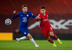 LIVERPOOL, ENGLAND - Thursday, March 4, 2021: Liverpool's Roberto Firmino (R) and Chelsea's Jorge Luiz Frello Filho 'Jorginho' during the FA Premier League match between Liverpool FC and Chelsea FC at Anfield. Chelsea won 1-0 condemning Liverpool to their fifth consecutive home defeat for the first time in the club's history. (Pic by David Rawcliffe/Propaganda)