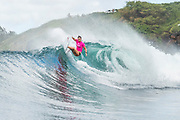 Defending event champion Tyler Wright of Australia, the reigning Woorld Champion advances directly to Round Three of the 2017 Maui Women's Pro after winning Heat 4 of Round One at Honolua Bay, Maui, Hawaii, USA.