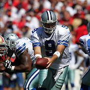 Dallas Cowboys quarterback Tony Romo (9)during an NFL football game between the Dallas Cowboys and the San Francisco 49ers at Candlestick Park on Sunday, Sept. 18, 2011 in San Francisco, CA.   (Photo/Alex Menendez)