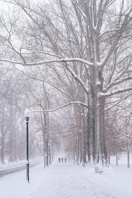A historic Christmas Day snowfall blankets Ritter Park in Huntington, West Virginia with a fresh wintery coat as people walk along the walking path in the distance.