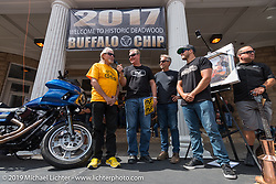 Custom builders Arlen Ness, his son Cory and grandson Zach Ness before the Legends Ride at the Franklyn Hotel on Main Street in Deadwood during the annual Sturgis Black Hills Motorcycle Rally. Deadwood, SD, USA. Monday August 7, 2017.  Photography ©2017 Michael Lichter.