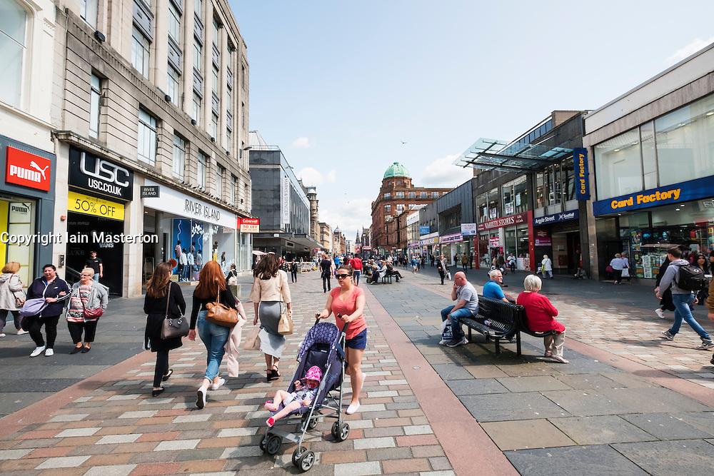 View of busy Argyll Street a popular shopping street in Glasgow, Scotland, United Kingdom