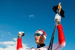 January 31, 2018 - Goms, SWITZERLAND - 180131 Mattis Stenshagen of Norway celebrates after winning the men's 15km classic technique interval start during the FIS U23 Cross-Country World Ski Championships on January 31, 2018 in Obergoms..Photo: Vegard Wivestad Grøtt / BILDBYRÃ…N / kod VG / 170091 (Credit Image: © Vegard Wivestad GrØTt/Bildbyran via ZUMA Press)