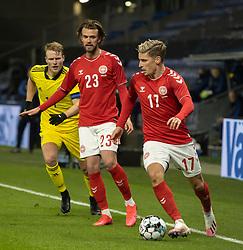 Jens Stryger Larsen (Danmark) med bolden under venskabskampen mellem Danmark og Sverige den 11. november 2020 på Brøndby Stadion (Foto: Claus Birch).