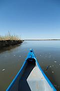 Canoe on lower Zambezi River in Zambia