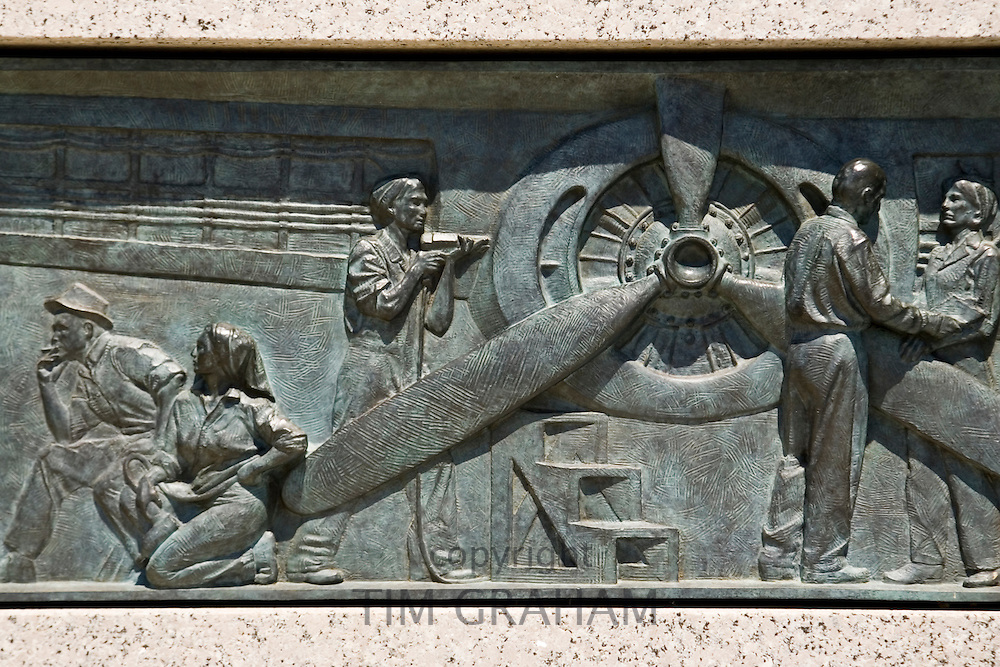 Bronze relief at The National World War II Memorial in Washington D.C, United States of America