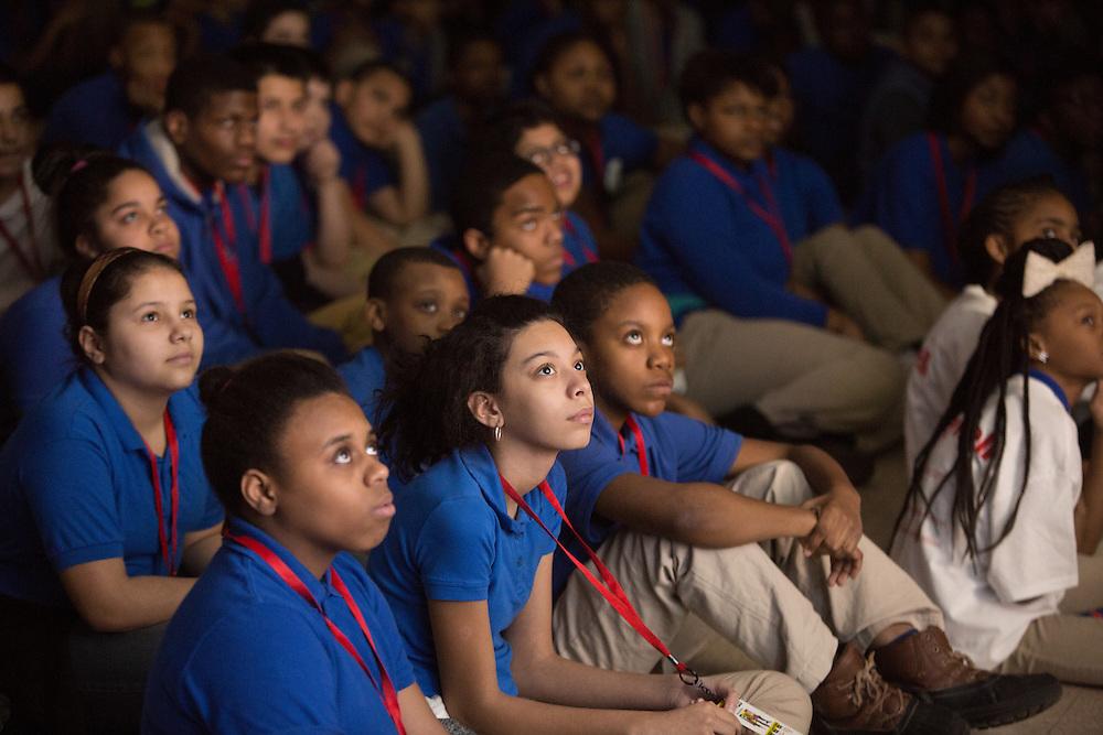 Honeywell and NASA bring hip-hop physics educational series to the Quitman Street Community School in Newark. <br /> <br /> 3/19/2015 Photo by John O'Boyle<br /> www.johnoboylevisuals.com<br /> john@johnoboyle.com