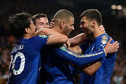 Leicester City's Islam Slimani celebrates his goal with Aleksandar Dragovic (right)