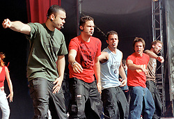 """Boy band Five performing on stage at """" Feel The Noise"""". A Local Radio stations  (Rock FM)  charity pop event which was held at Blackburn Rovers Football Ground Saturday 2nd June 2001."""