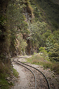 Railway leading to and from Machu Picchu through the Sacred Valley. Cusco Region, Urubamba Province, Machupicchu District in Peru, South America