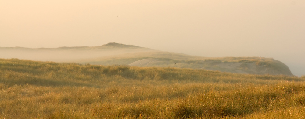 Mist at sunrise over the dunes at Texel, the Netherlands