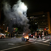 People leave a wake of destruction as they are forced away from Lafayette Park in Washington DC. Protests in D.C. carry into the night, with more than 1,000 at Lafayette Park near the White House. Protesters are out nationwide after the killing of George Floyd by Minneapolis police. DC Metro police, secrete service police and Park police eventually pushed the protesters out of the park and into the streets of D.C.
