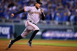 Hunter Pence runs the bases in Game 7 of the World Series, 2014 World Series Champion Giants