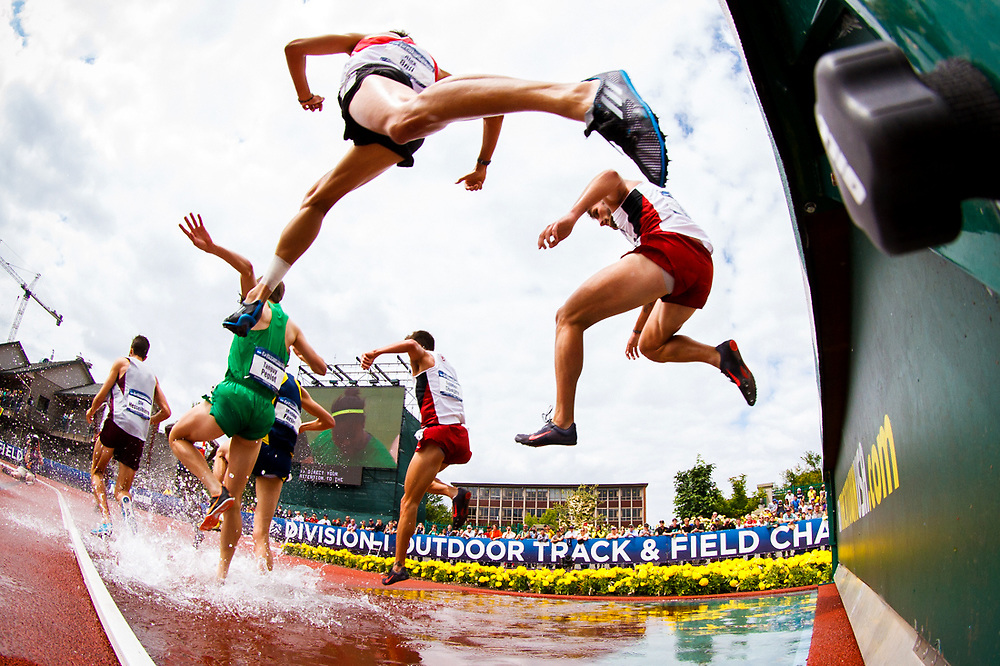Runners leap over the barrier during the men's 3000 meter steeplechase competition. The University of Oregon hosts day four of the NCAA 2014 Outdoor Track and Field Championships at Hayward Field in Eugene, Oregon on June 14, 2014. (Ryan Kang/Emerald)