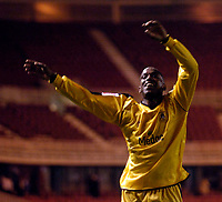 Photo: Jed Wee.<br /> Middlesbrough v Notts County. Carling Cup. 20/09/2006.<br /> <br /> Notts County's Junior Mendes celebrates.