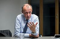 08 NOV 2018, BERLIN/GERMANY:<br /> Friedrich Merz, CDU, Rechtsanwalt, Manager und Kandidat fuer das Amt des Bundesvorsitzenden der CDU, waehrend einem Interview, Pariser Platz 6a<br /> IMAGE: 20181108-03-033